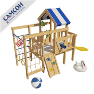 Детская игровая площадка со спальным местом - Чердак САМСОН ДОРИ, горка, скалодром, турник, кольца, шведская стенка, фото 1