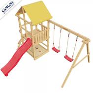 Детская деревянная площадка САМСОН 4-ЫЙ ЭЛЕМЕНТ, скалодром, качели, горка, песочница, фото 1