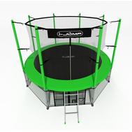 Большой уличный батут на пружинном каркасе - i-JUMP 14FT GREEN, сетка, мат, лестница, фото 1